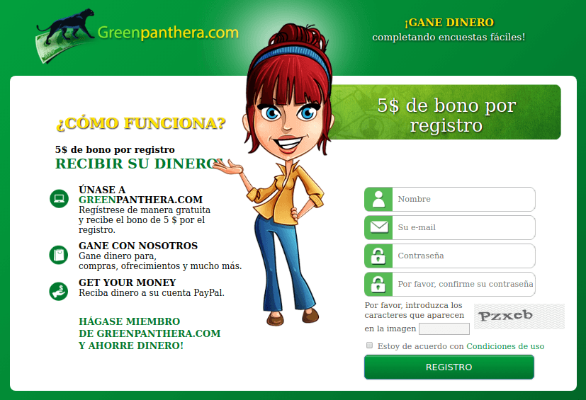 Página de registro de Green Panthera